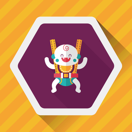 baby in diaper: baby flat icon with long shadow,eps10
