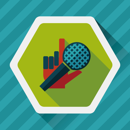 silver service: Microphone flat icon with long shadow,eps10