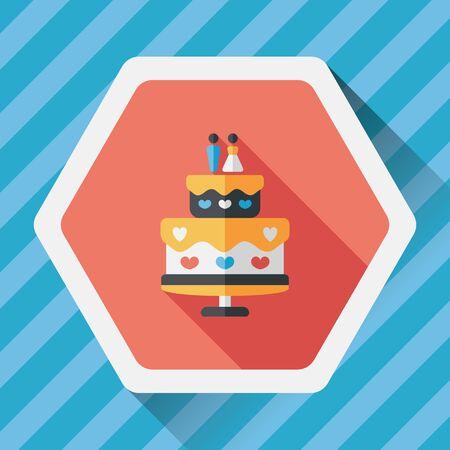 cake decorating: wedding cake flat icon with long shadow,eps10 Illustration