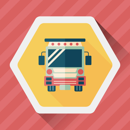 school icon: Transportation school bus flat icon with long shadow,eps10 Illustration