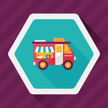 vendor: Transportation vendor carts flat icon with long shadow,eps10