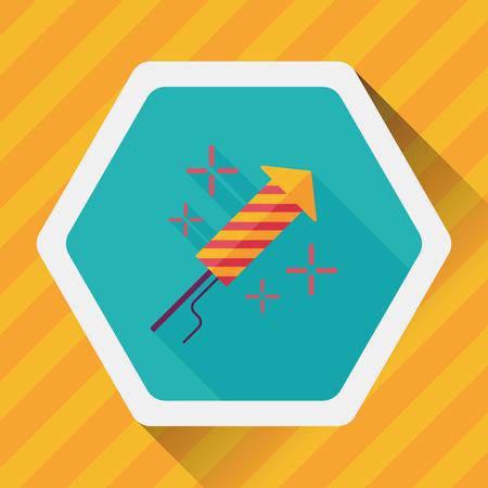 illustration editable: Firecracker flat icon with long shadow,eps10 Illustration