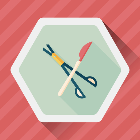 surgeon: Surgical Instrument flat icon with long shadow