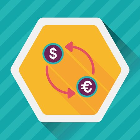 money exchange: Currency Exchange flat icon with long shadow,eps10