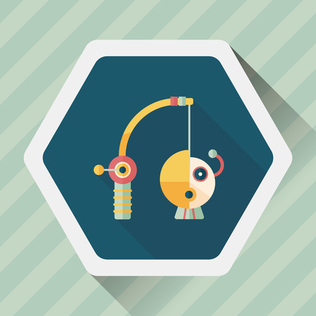 angling rod: Fishing toy flat icon with long shadow,