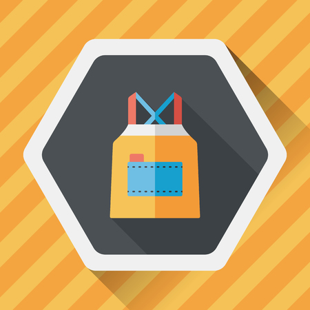 protective apron: kitchenware apron flat icon with long shadow, Illustration