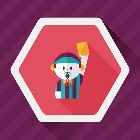 soccer referee: soccer referee flat icon with long shadow, Illustration