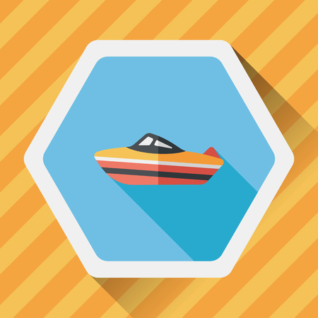 cruising: Transportation ship flat icon with long shadow