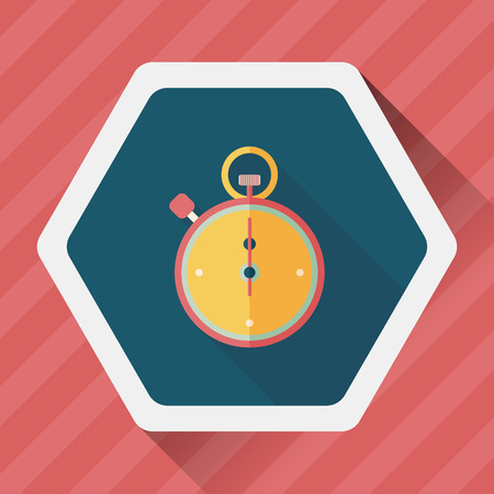 overtime: stopwatch flat icon with long shadow