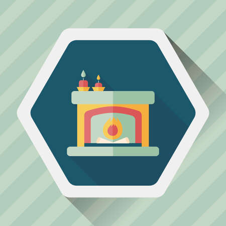 mantelpiece: Christmas fireplace flat icon with long shadow,