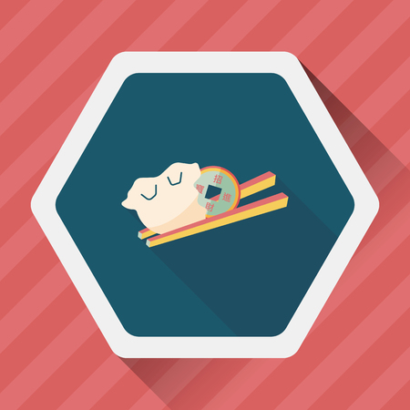 Chinese New Year flat icon with long shadow,  Coin wrapped in dumplings where people eat throughout the year will be very lucky and get rich.