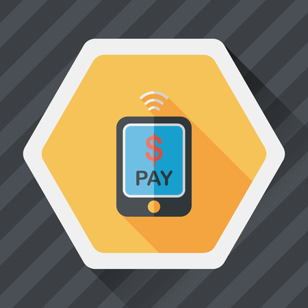 e commerce icon: online cell phone shopping flat icon with long shadow,