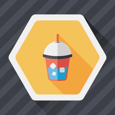ice tea: iced drink flat icon with long shadow,