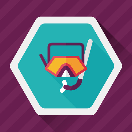 snorkel: Mask and snorkel flat icon with long shadow