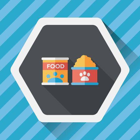 animal feed: Pet dog food flat icon with long shadow, Illustration