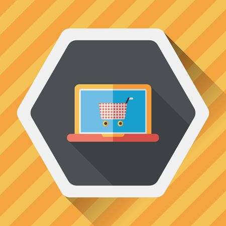e commerce icon: online shopping flat icon with long shadow,