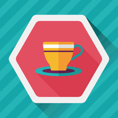 coffee cup flat icon with long shadow