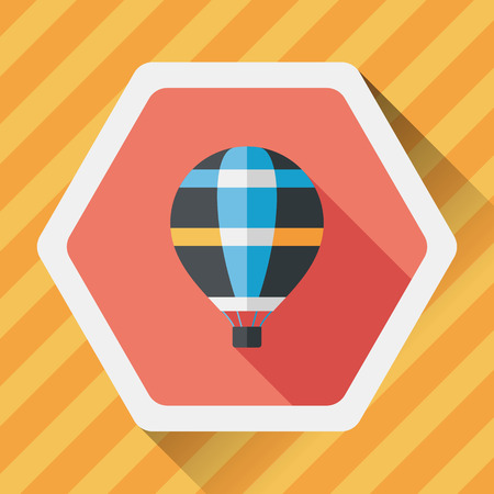 hot air: Transportation hot air ballon flat icon with long shadow,