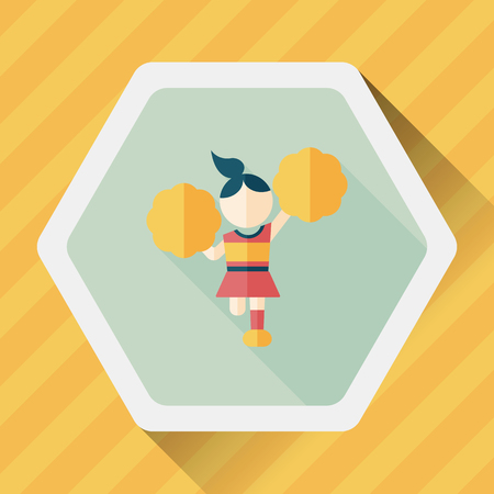 arms outstretched: cheerleader flat icon with long shadow