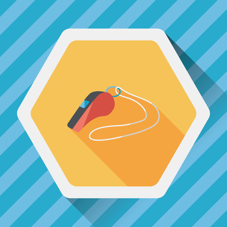 beep: whistle flat icon with long shadow,