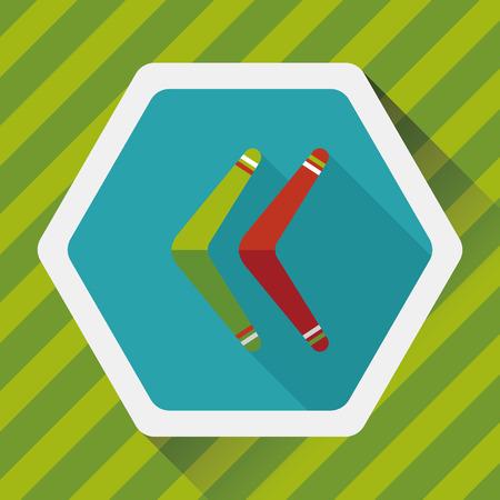 boomerang: boomerang flat icon with long shadow