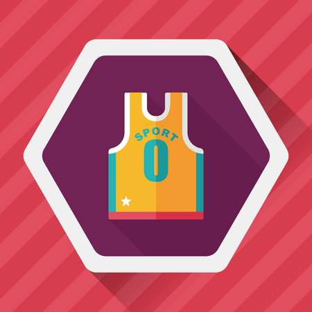 t short: basketball clothing flat icon with long shadow,