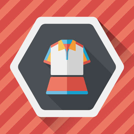 outfit: sport outfit flat icon with long shadow