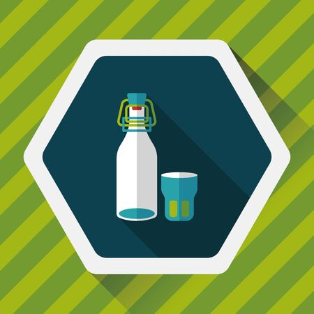 long drink: kitchenware preserving drink flat icon with long shadow,