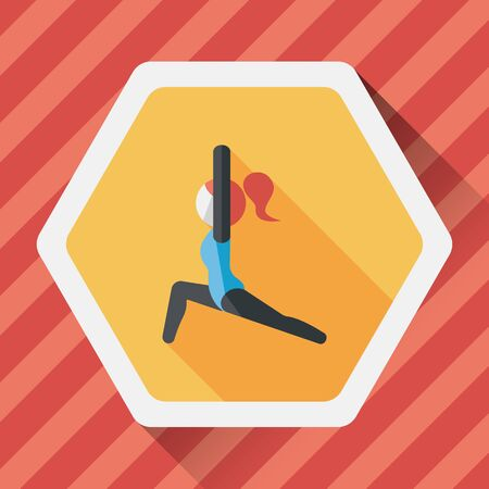 sporty: sporty girl flat icon with long shadow, Illustration