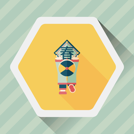 spring festival couplets: Chinese New Year flat icon with long shadow, , the little boy to stick couplets, Chinese festival couplets means  wish Spring comes.