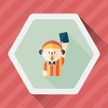 football judge: soccer referee flat icon with long shadow, Illustration