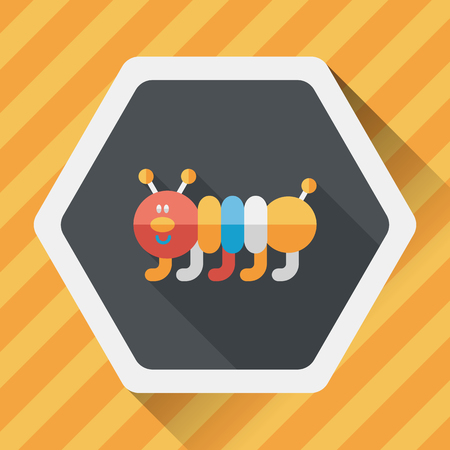 creeps: Caterpillar flat icon with long shadow Illustration