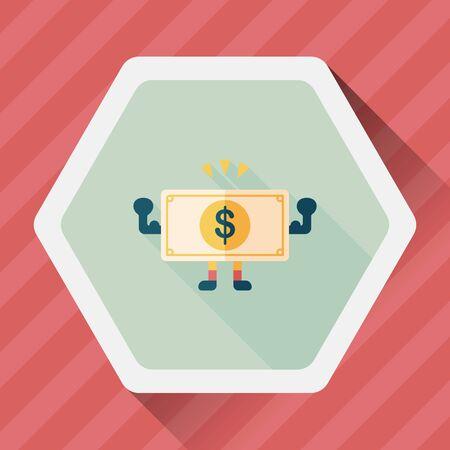 cash money: shopping money cash flat icon with long shadow, Illustration