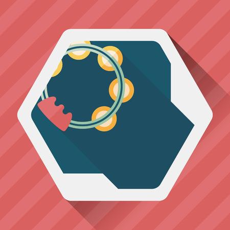 pandero: pandereta icono plana con larga sombra