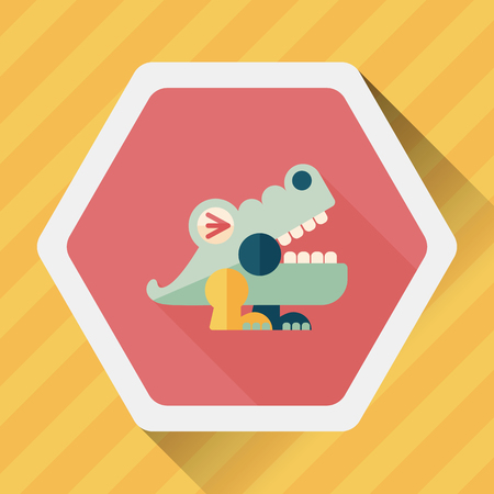 wrath: crocodile toy flat icon with long shadow,eps10 Illustration