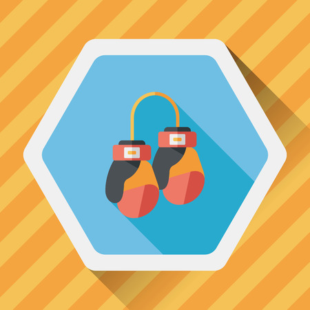 long gloves: boxing gloves flat icon with long shadow Illustration