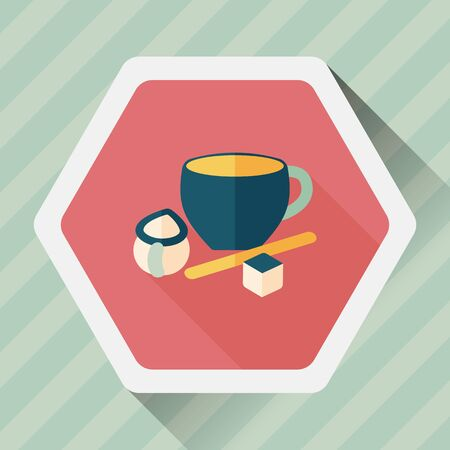 sugar spoon: coffee flat icon with long shadow Illustration