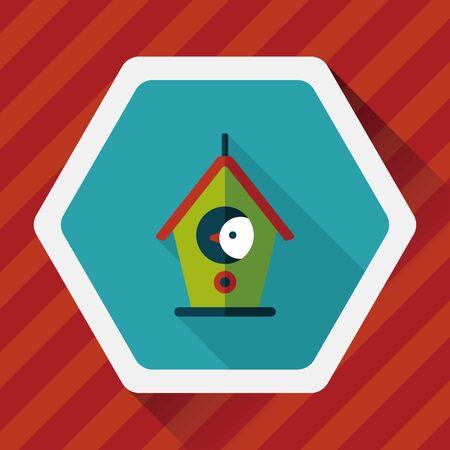habitats: Pet bird house flat icon with long shadow, Illustration