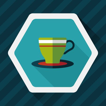 coffeecup: coffee cup flat icon with long shadow,