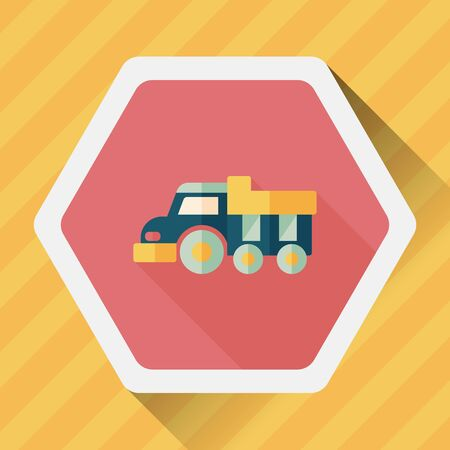 earth moving: Dump truck flat icon with long shadow,