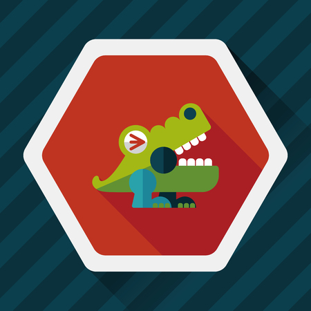 wrath: crocodile toy flat icon with long shadow, Illustration