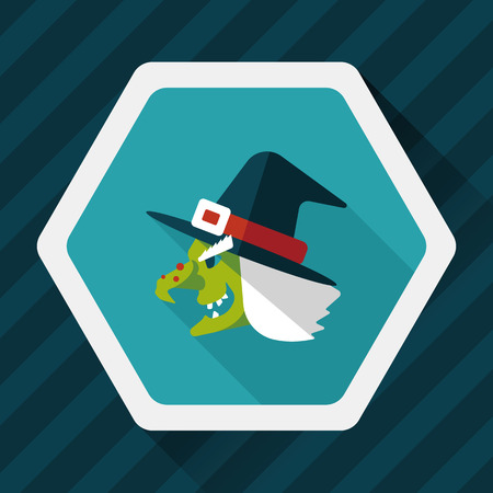 curse: witch hat flat icon with long shadow