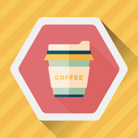 takeout: takeaway coffee flat icon with long shadow Illustration