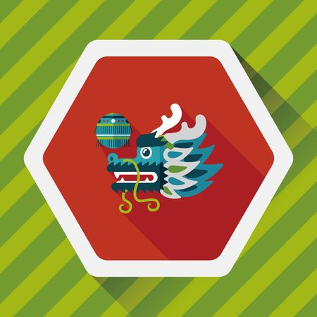 lion dance: Chinese New Year flat icon with long shadow, ,The dragon and lion dancing head