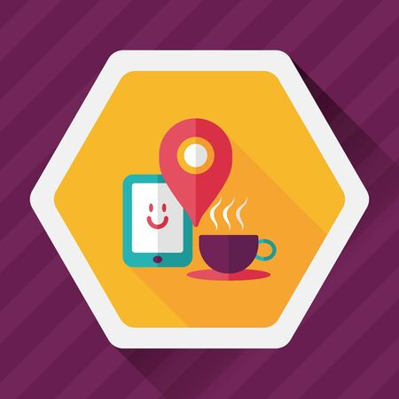 coffeecup: coffee flat icon with long shadow,  , When you go to coffee shop, you can check into places and click the like button on social network. Illustration