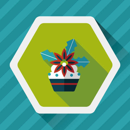 christmas cake: Christmas cake flat icon with long shadow,