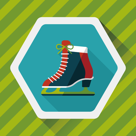 shoelaces: ice skate flat icon with long shadow,e Illustration