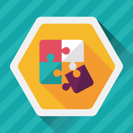 assemble: Puzzle flat icon with long shadow,