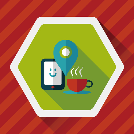 lliquid: coffee flat icon with long shadow,  , When you go to coffee shop, you can check into places and click the like button on social network. Illustration