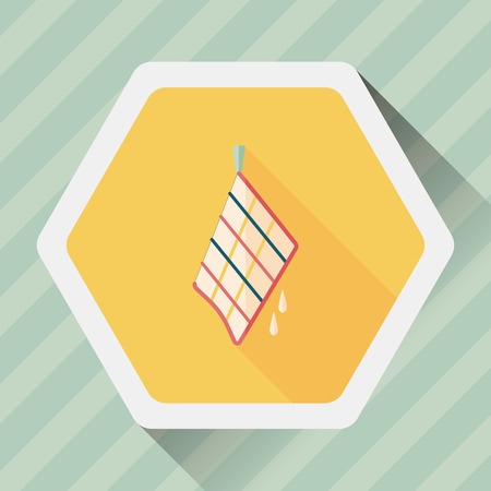 rag: kitchenware rag flat icon with long shadow Illustration